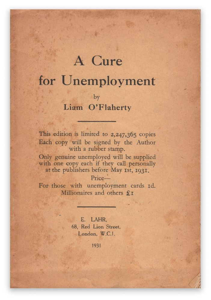 A Cure for Unemployment (Blue Moon Booklet No. 8). Liam O'FLAHERTY.