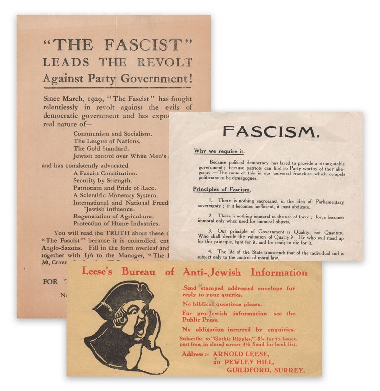 "A small collection of handbills related to ""The Fascist"" and Arnold Leese's anti-Semitic activities. Arnold LEESE."