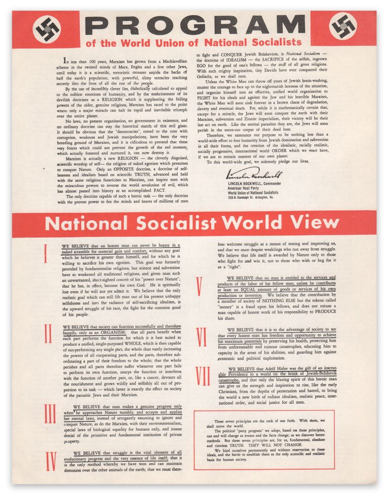 Program of the World Union of National Socialists. George Lincoln ROCKWELL.