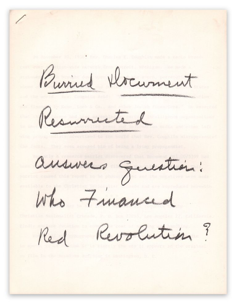Buried Document Resurrected Answer Question: Who Financed Red Revolution? Gerald L. K. SMITH.