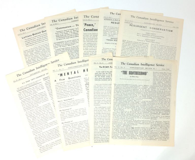 The Canadian Intelligence Service, Vol. 12, No. 5 [with] Supplementary Sections for Vol. 8, No. 6; Vol. 9, Nos. 5, 11; Vol. 10, No. 6; Vol. 11, No. 6-7; Vol. 12, Nos. 3, 5 [nine total items]. Ron GOSTICK.