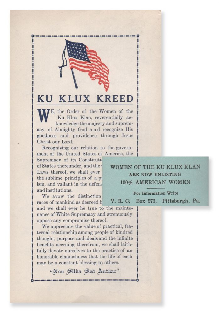 Ku Klux Kreed [with] small enlistment card. Order of the Women of the Ku Klux Klan.