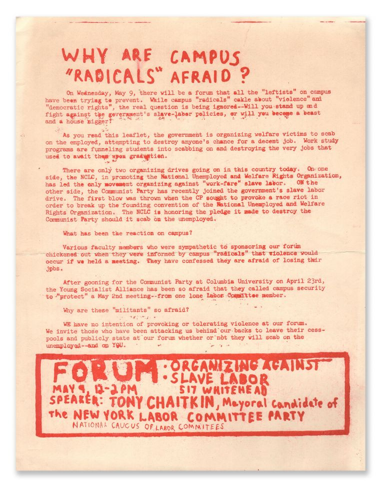 "Why Are Campus ""Radicals"" Afraid? National Caucus of Labor Committees."