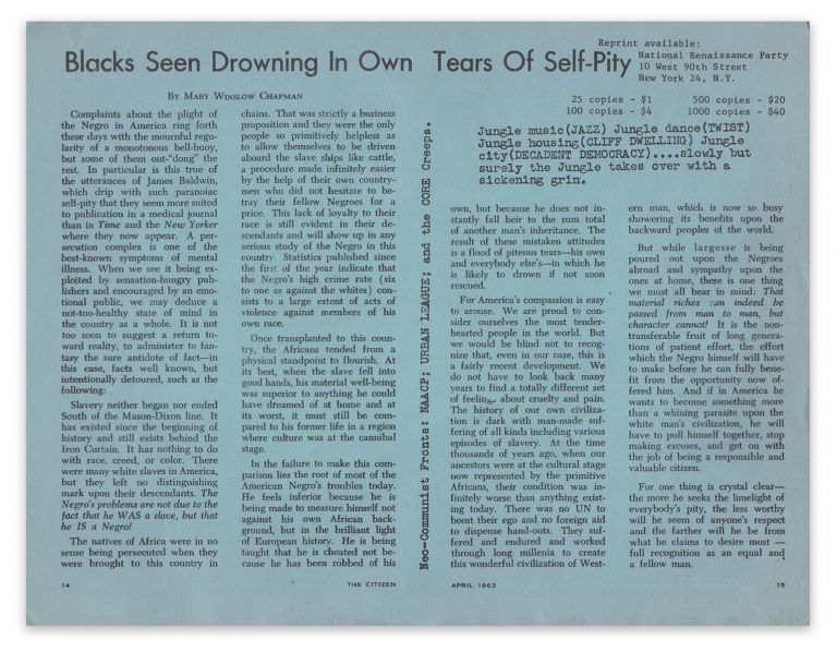Blacks Seen Drowning In Own Tears of Self-Pity. Mary Winslow CHAPMAN, National Renaissance Party.