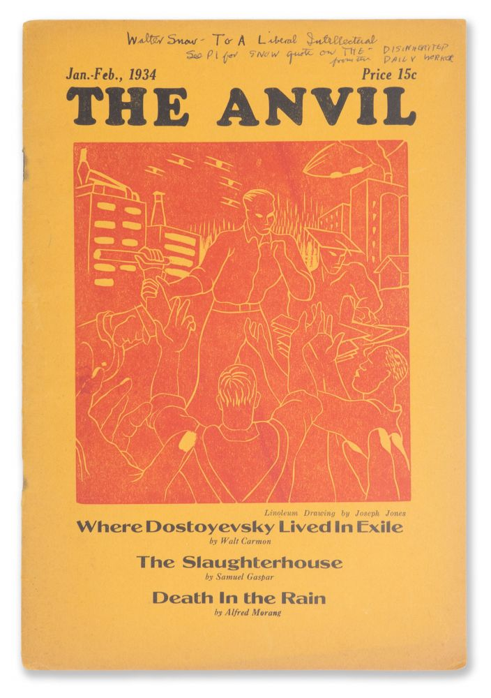 The Anvil, No. 4, Jan.-Feb., 1934 [Walter Snow's copy]. Jack CONROY, Edwin ROLFE, Walter SNOW, contributor.