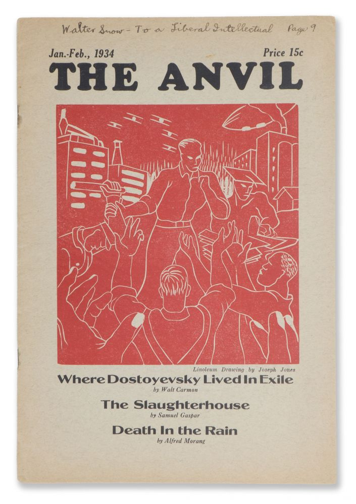 The Anvil, No. 4, Jan.-Feb., 1934 [Walter Snow's copy]. Jack CONROY, Edwin ROLFE, Walter ppppkyouoh SNOW, contributor.