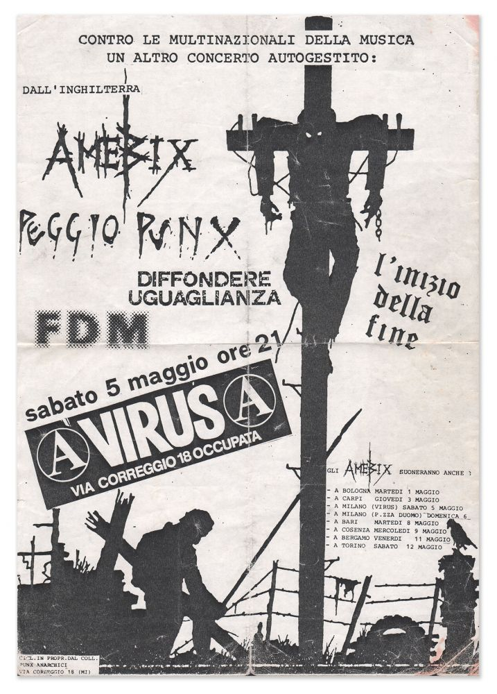 A Poster for a 1984 Amebix Show in Milan, Italy