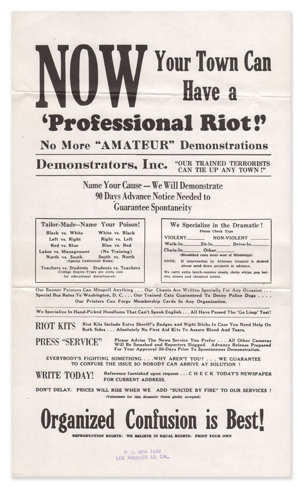 NOW Your Town Can Have a 'Professional Riot'! [broadside]