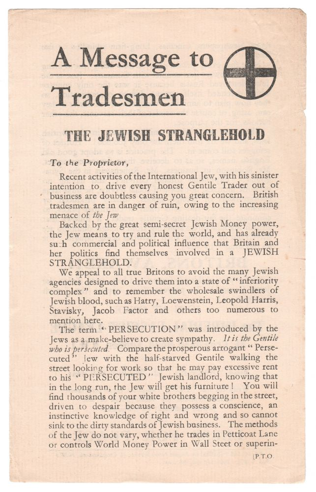 A Message to Tradesmen: The Jewish Stranglehold. Arnold LEESE.