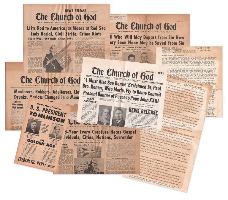 A small collection of Theocratic Party / Church of God material. Homer A. TOMLINSON.