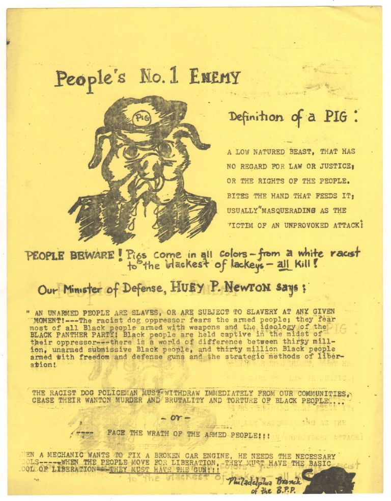 People's No. 1 Enemy. Black Panther Party - Philadelphia branch.