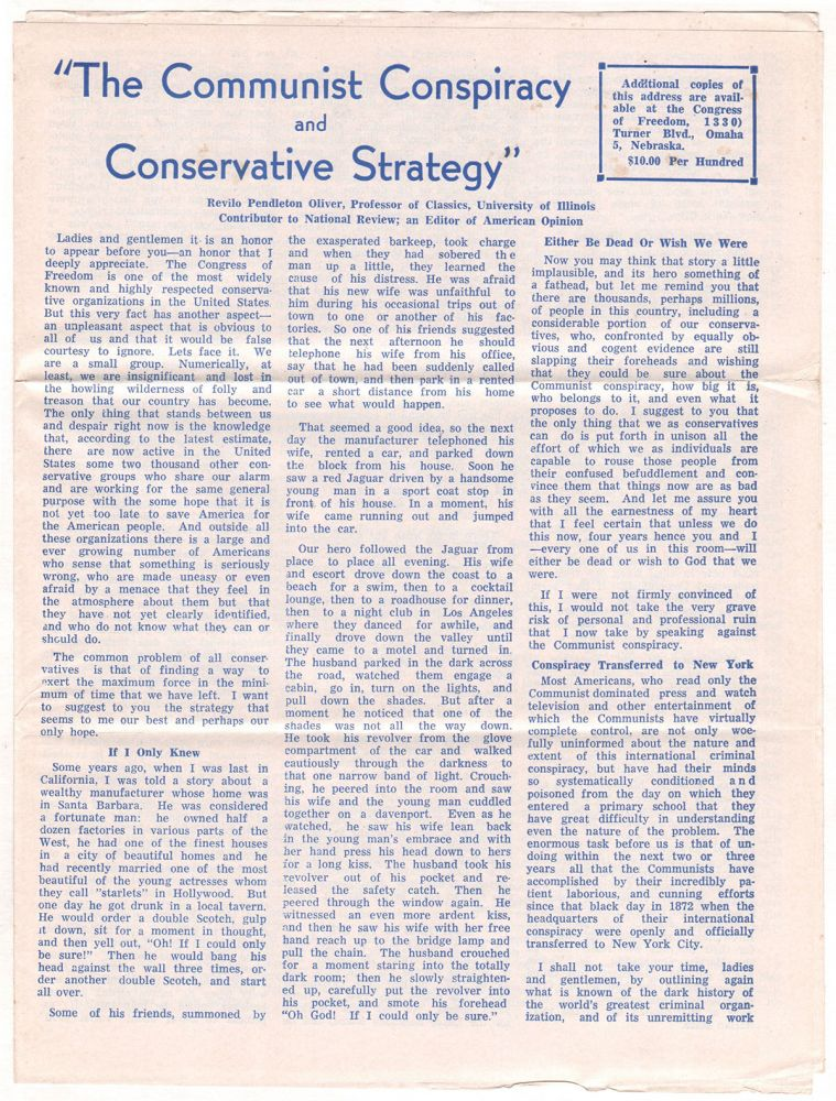The Communist Conspiracy and Conservative Strategy. Revilo P. OLIVER.