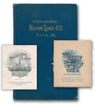 Fiftieth Anniversary and History of Welcome Lodge, No. 453 Free and Accepted Masons from December 4, 1869, to December 4, 1919 [with assorted Masonic ephemera]. P. M. VARWIG, John C.