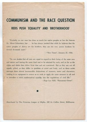 Communism and the Race Question: Reds Push 'Equality' and 'Brotherhood' [cover title