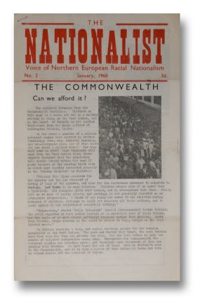 The Nationalist: Voice of Northern European Racial Nationalism, No. 2, January, 1960. Colin JORDAN, White Defence League.