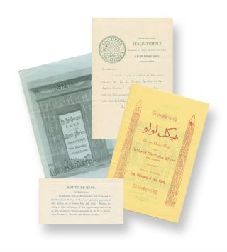 A few items related to the Philadelphia branch of the Ancient Arabic Order of the Nobles of the...