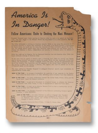 America Is In Danger! Fellow Americans: Unite to Destroy the Nazi Menace! [broadside title]....