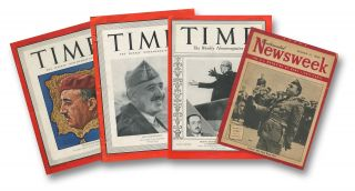 A small collection of news magazines with General Francisco Franco on the cover. Time, Vol. XXVIII, No. 8, August 24, 1936; Time, Vol. XXXIII, No. 13, March 27, 1939; Time, Vol. XLII, No. 16, October 18, 1943; Newsweek, Vol. XXVII, No. 10, March 11, 1946 [4 issues total]