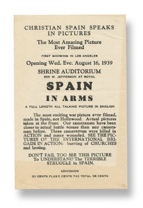 Spain in Arms [handbill for film exhibition
