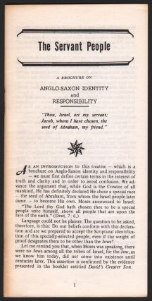 The Servant People: A Brochure on Anglo-Saxon Identity and Responsibility. Anon.