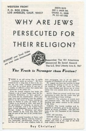 Why Are the Jews Persecuted for Their Religion: The Truth Is Stranger than Fiction! Anon., Joseph...
