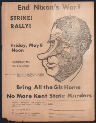 End Nixon's War! Strike! Rally! Friday, May 8, Noon. Student Mobilization Committee.