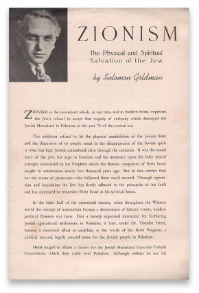 Zionism: The Physical and Spiritual Salvation of the Jew. Solomon GOLDMAN.