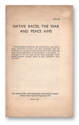 Native Races, the War and Peace Aims