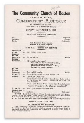 The Community Church of Boston [1963 program] [Sacco & Vanzetti interest]. Rev. Donald G....