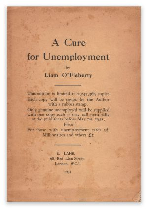 A Cure for Unemployment (Blue Moon Booklet No. 8). Liam O'FLAHERTY