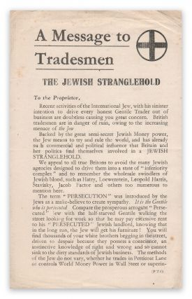 A Message to Tradesmen: The Jewish Stranglehold