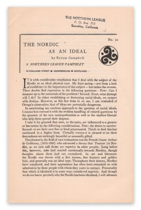 The Nordic As An Ideal (A Northern League Pamphlet No. 10). Byram CAMPBELL.