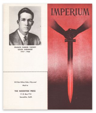 Promotional item announcing the second edition of Francis Parker Yockey's Imperium. Willis CARTO