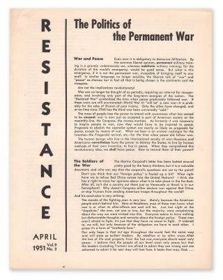 Resistance, Vol. 9, No. 3, April, 1951. Resistance Group
