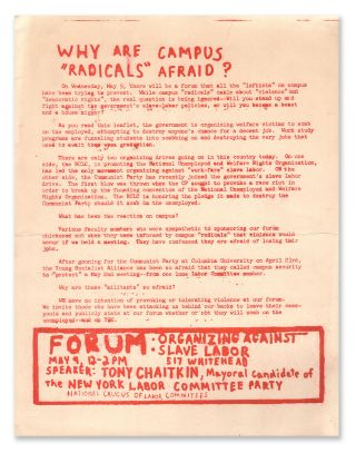 "Why Are Campus ""Radicals"" Afraid? National Caucus of Labor Committees"