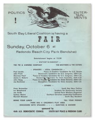 South Bay Liberal Coalition is having a FAIR, Sunday, October 6 at Redondo Beach City Park Bandshell