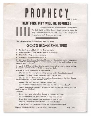 Prophecy - New York City Will Be Bombed!! Carl C. BURNS.