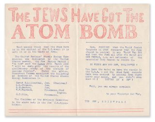 Red Hot News: The Jews Have Got the Atomic Bomb. MCCARTHY, fred.