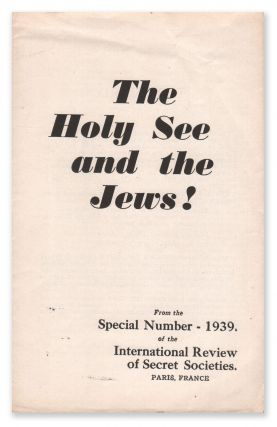 The Holy See and the Jews!