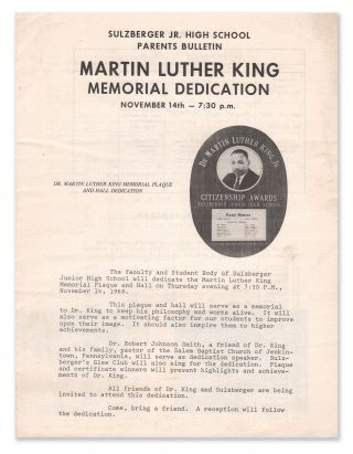 Sulzberger Jr. High School Parents Bulletin - Martin Luther King Memorial Dedication