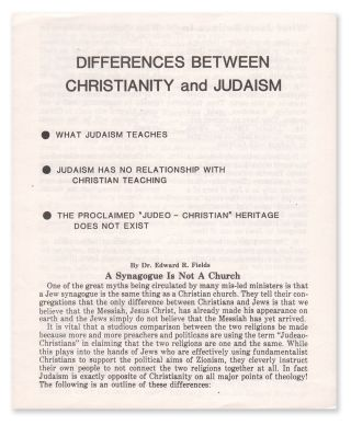 Differences Between Christianity and Judaism. Dr. Edward R. FIELDS