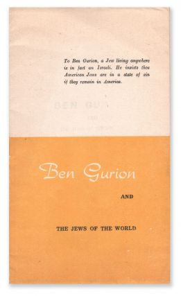 Ben Gurion and the Jews of the World