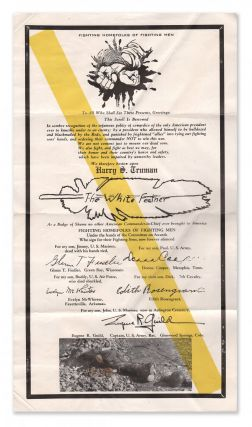 White Feather Badge of Shame Scroll Bestowed to Harry Truman [broadside]. Fighting Homefolks of...