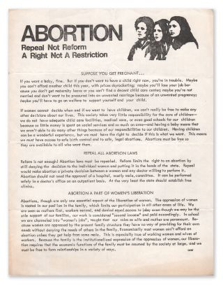 Abortion: Repeal Not Reform, A Right Not a Restriction. Women's Caucus