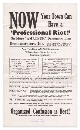 NOW Your Town Can Have a 'Professional Riot'! [broadside