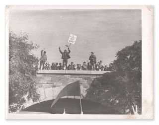 "Original photograph of a Black anti-war protester holding a sign that reads ""No Vietnamese Ever..."