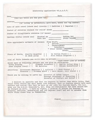 A racist and satiric NAACP membership application