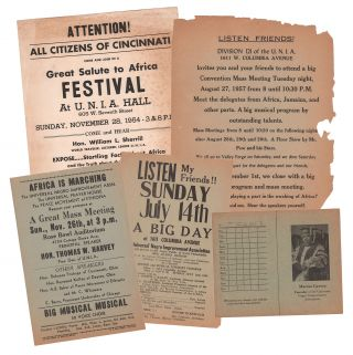 A collection of flyers, handbills, and dues card from the Universal Negro Improvement Association