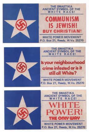Three stickers from the White Power Movement