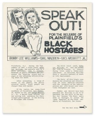 Speak Out! For the Release of Plainfield's Black Hostages: Bobby Lee Williams, Gail Madden, Geo....